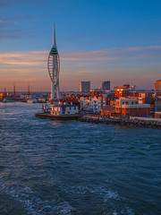 Portsmouth Spinnaker Tower (Wizard CG) Tags: portsmouth hampshire harbour south spinnaker city boat port sail sea ocean river buildings glow light reflection water tower england sun set ngc worldtrekker epl7