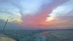 Pink Sunset - 1 (lemoncat1) Tags: cruiseship sea sunset colorfulsunset horizon pinkclouds pinksunset