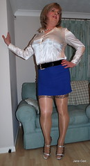 1 Flashback (janegeetgirl2) Tags: transvestite crossdresser crossdressing tgirl tv ts heels sheer shine patterned tights office blue pa blouse secretary satin mini short skirt stilettos high jane gee