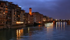 River Arno embankment at dusk, Florence, Italy (edk7) Tags: nikoncoolpix4500 e4500 edk7 2004 italy italia tuscany toscana florence firenze arnoriver riverarno embankment dusk twilight church campanile apartment residential commercial bridge streetlight architecture building oldstructure city cityscape urban monument dome reflection water cloud night