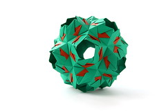 Braganza (variation) (ronatka) Tags: kusudama nataliaromanenko modularorigami green brown whitebackground efs18135mmf3556is variation rectangle12 braganza