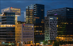The Barcode Project (geospace) Tags: barcode oslo night skyscrapers modern building