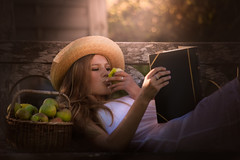 Autumn (prueheron) Tags: fineart apples girl reading book september rural countryside