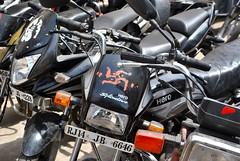 Motorbike swastikas, Jaipur, India (CultureWise) Tags: india swastika symbols