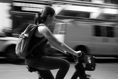 A Rider (kogh65) Tags: new york photography photo travel art 2016 nyc ny street black white leica m mono tone city outdoor life people depth field reportage young kogh candid camera focus pov picture 50mm image manhattan artist kogh65 bike bicycle
