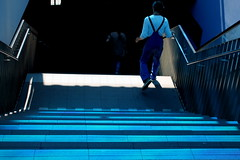 the blue stairs (overthemoon) Tags: utata:project=fromabove utata weekendproject switzerland suisse schweiz svizzera romandie vaud lausanne riponne people fromabove blue light steps man overalls railing goingdown