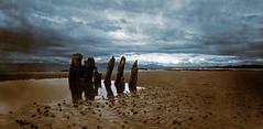 The Wreck (wheehamx) Tags: xray pano ayrshire wreck beach panorama sepia blue