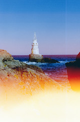 Lighthouse in Ahtopol (Iliyan Yankov) Tags: film 35mm lighthouse sea light sun burn expose sky blue yellow warm summer water fujifilm fuji superia 200 minolta himatic7s