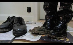 Muddy patent dress shoes - Round 2! (muddy-suit) Tags: patent shoes leather suit mud muddy fetish