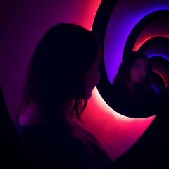 The Cake is a Lie (Karissa Selby) Tags: portal mirrors blue orange video games self portrait