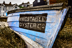 Whitstable Oyster Co (Sean Batten) Tags: whitstable england unitedkingdom gb whitstableoysterco kent boat blue nikon df 35mm grass beach