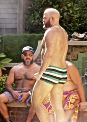 IMG_7884 (danimaniacs) Tags: party shirtless man guy sexy hot bear beard scruff hunk back bare hairy swimsuit trunks bald
