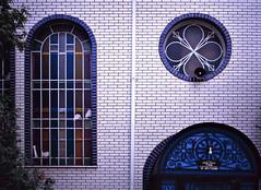 Unorthodoxical (Ian David Blm) Tags: urban brick 120 film glass architecture mediumformat awning fuji montreal patterns synagogue slide surface textures velvia judaism orthodox outremont mamiya645protl