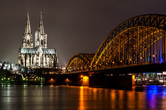 Cologne Cathedral (Klner Dom) (sebileiste) Tags: night germany deutschland cathedral nacht dom cologne kln rhine rhein hohenzollernbrcke