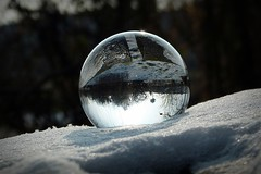 Crystal ball in snow (april-mo) Tags: snow ball sphere round boule crystalball crystalclear bouledecristal bouledeverre crystalballphotography nonopticalglass