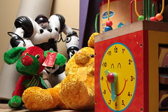 043/365 - February 12, 2013 (castermer) Tags: dog rabbit clock colors toys robot dolls day stuffedanimals blocks 365 day43 43 fortythree 2013 dayfortythree pad2013365