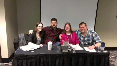 Nonfiction MFA candidates Tatiana Uhoch and Ryan Spooner with Learning Studio Friends