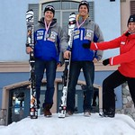 Senator Nancy Greene Raine with Martin Grasic and Brodie Seger, 1 and 2 on the U18 Slalom Podium at Sun Peaks Van Houtte race PHOTO CREDIT: JP Daigneault