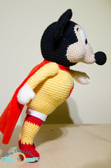 Mighty Mouse (ItsyBitsyAmi) Tags: pink red white black yellow mouse nikon rat character crochet ears yarn mice cap hook amigurumi mighty cartoons d7000