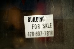 For Sale (MilkaWay) Tags: building window glass mainstreet forsale condensation sparta economy phonenumber hancockcounty smalltowngeorgia ga15