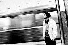 Moscow Metro (fede_gen88) Tags: blackandwhite man motion blur station train underground nikon waiting europe metro russia moscow young   d5100