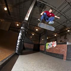 Zachary Miyamoto - Switch Kickflip (Winglemire) Tags: city nikon michigan gap indoor skatepark skate grind miyamoto kickflip 65mm d90 skateboading opteka skatehungry