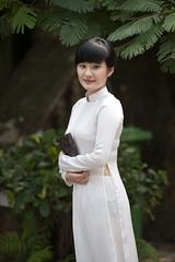 V001 Vietnamese girl in Ao Dai - Hanoi (VesperTokyo) Tags: white girl asia dress vietnam hanoi aodai nikond3