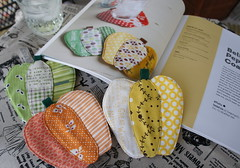 Bell Pepper Coasters (Cut To Pieces) Tags: sewing fabric patchwork coaster ayumi zakka bellpeppers pinkpenguin patchworkplease bellpeppercoasters
