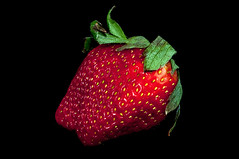 fresh red strawberry isolated on a black background (DigiDreamGrafix.com) Tags: red summer food white black macro reflection green beautiful closeup fruit dessert one leaf juicy healthy strawberry berry shiny colorful close sweet cut vibrant background vivid tasty fresh seeds delicious health slice organic diet edible fruity isolated freshness ripe vitamin nutrient
