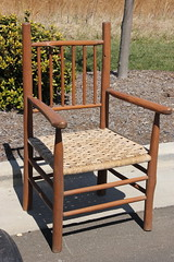 5028. Large Wooden Rattan Chair