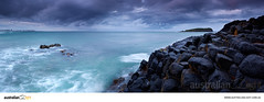 Playing The Blues (Russell Stewart / AustralianLight.com.au) Tags: ocean longexposure sea panorama seascape clouds canon twilight rocks shoreline australia panoramic shore nsw newsouthwales 24mm tse headland 6d tiltshift fingal fingalhead fingalheads australianlight