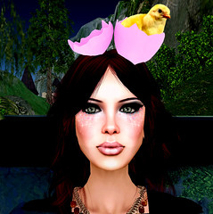 Chicken hat (Made in Mulberry) Tags: morning pink chicken me water hat yellow forest hair gift av hunt mim mulberry animalbird bodouir
