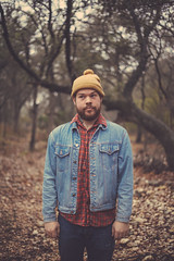 Zachary: Up In The Woods (p.longno) Tags: winter film fashion sanantonio woods americanapparel gq jeanjacket apparel hikingboots boniver