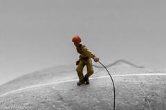 Rock Climber (xstc) Tags: blackandwhite miniature nikon nikon85mm blackandwhitewithcolour minifigures d5100 silverefexpro2 nikonafsdx85mmf35gedvrmicro