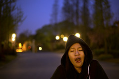 It's about time to wake up (Natella C) Tags: trees cold night lights evening hoodie friend shadows bokeh yawn sleepy 6d