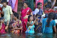 Varanasi - India (Joao Eduardo Figueiredo) Tags: old woman india heritage water river religious nikon women asia indian faith religion silk temples sacred varanasi spiritual shiva hindu hinduism sari pilgrimage banks ganges ghats benares ghat holycity uttarpradesh nikond3x