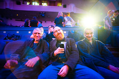 Last of the Summer Wine (TGKW) Tags: old light party summer portrait people cinema men film smile festival night drunk last beard ian wine theatre drink expression glasgow group christopher stewart elderly flare opening doyle laing spink gft 8121