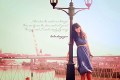 If.... (Tintin Do Nguyen) Tags: city bridge blue light girl lady dress navy chi if romantic ho minh hcmc blend blending streeet