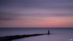 North Sea (BraCom (Bram)) Tags: longexposure sunset holland clouds canon zonsondergang widescreen horizon nederland thenetherlands noordzee wolken pole le northsea 169 ouddorp breakwater zuidholland goereeoverflakkee paal southholland langesluitertijd strekdam canonef24105mm nd110 110nd bracom bw110endgrey canoneos5dmkiii