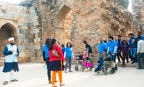 Accessible Tour of Qutub Minar: The tour in progress.