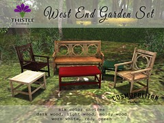 Thistle West End Garden Set Colors (Liz Gealach) Tags: thistlehomes thistle homes second life secondlife sl lizgealach furniture cosmopolitan west end garden westendgardenset decor porch bench chair table