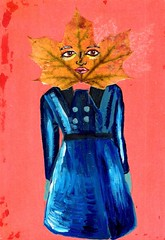 Marybeth Leaf Person (Fauna Finds Flora) Tags: leaf autumn fall blue red orange nature character story narrative art illustration faunafindsflora
