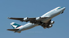 Cathay Pacific Boeing 747-467 B-HOS (Adrian Williams P H O T O G R A P H Y) Tags: scrap scrapped flight commercial last cx cathay pacific boeing 747 400 467 jumbo 744 747400 747467 bhos london heathrow airport lhr egll cains lane park myrtle avenue bedfont new west a30 aviation airliner airline hong kong hkg adrian ady williams perfect moment images fuji fujifilm film fine pix finepix s5 s5pro pro nikon 80 200 f28 take off taking departing