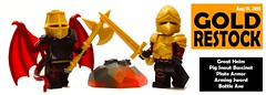 Aug 2016 - Gold Knights (BrickWarriors - Ryan) Tags: brickwarriors custom lego minifigure weapons helmets armor great helm pig snout bascinet pearl gold plate arming sword medieval castle fantasy battle axe knights