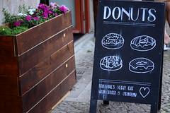 Flowers and donuts (beanfarmerfabiana) Tags: vegan donuts berlin cafe flowers chalkboard sign shop coffee chalk