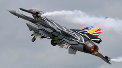 Belgian Special Fighting Falcon. (spencer.wilmot) Tags: f16 fighter fightingfalcon departure takeoff riat royalinternationalairtattoo belgianairforce specialcolours speciallivery specialmarkings smokewinders smoke display aviation plane airplane aircraft airbase baf jet militaryaviation