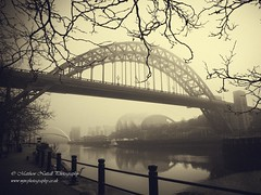 Hold It Up (Matthew Nuttall Photography) Tags: bridge mist newcastle northumberland quayside architecture city cityscape monochrome northeast sepia