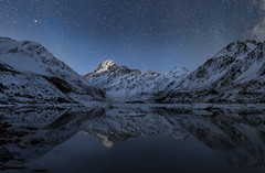 Aoraki Reflections (soliloquy photography) Tags: lake reflections mountains cold blue night newzealand stars snow peaceful dark panorama longexposure glacier still astrophotography meteor nz icebergs canterbury mountcook shootingstar mackenzie concordians
