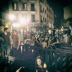People having a drink on a playground, Madrid (Al Fed) Tags: 20160615 madrid people candid night going out crowd playground woman pharmacy nightlife