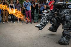 robot rhino in action w/ fire (T. Roth) Tags: robots robodonien cologne kln industrial art robot steel rust rost stahl grey kunst rhino fire